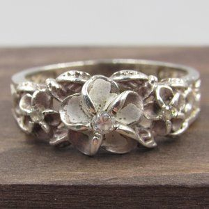 Size 9.75 Sterling Rustic Floral CZ Diamond Ring